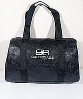 Стильная женская сумка спортивная дорожная черная эко-кожа