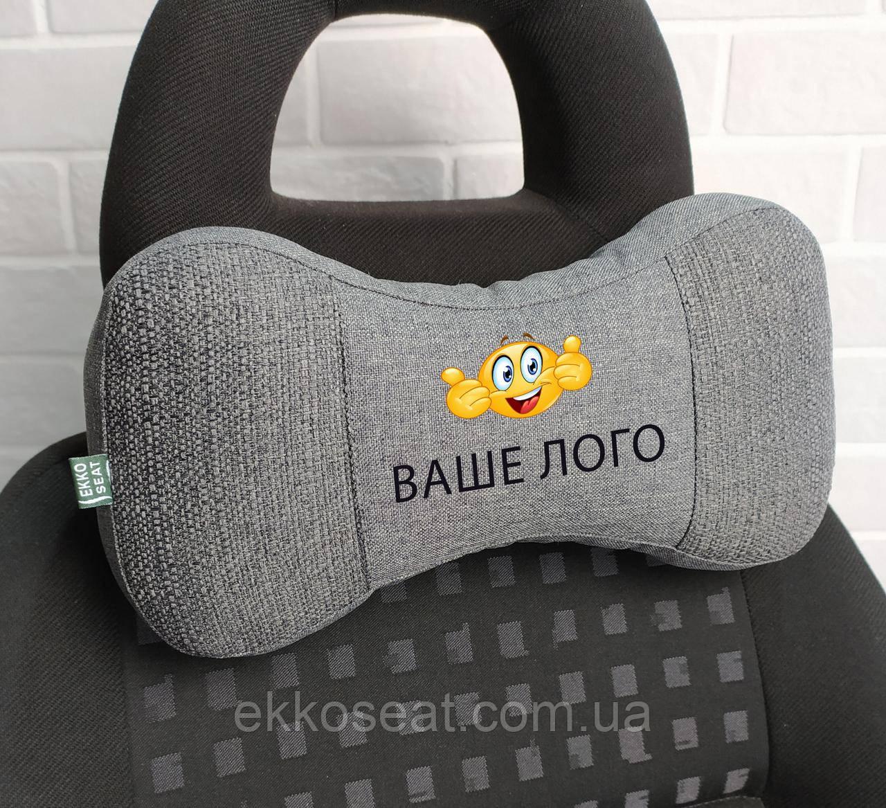 Нанесение логотипа на подушку для шеи на подголовник EKKOSEAT. В машину. Опт. Черная, серая, бежевая ...любая.