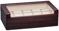 Деревянная шкатулка для часов на 10 отделений Rothenschild RS806-10EC с прозрачным верхом