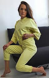 Жіночий прогулянковий костюм-трійка: кофта+джоггеры+шорти Diva СТ-162yellow