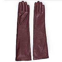 Модные женские перчатки (кожаные, зимние, бордовые, на флисе, длинные)