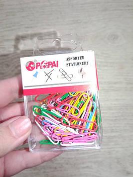 Скрепки цветные в пластике 9-66, 50шт