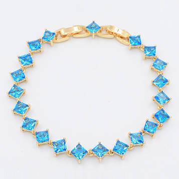 XUPING Браслет Позолота 18к с голубыми квадратными цирконами Ширина 7мм  Длина 18,5+1,5см (доп звено)