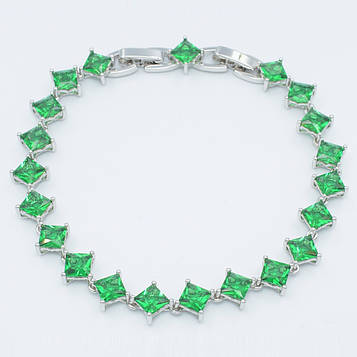 XUPING Браслет Родій з зеленими квадратними цирконами Ширина 7мм Довжина 18,5+1,5 см (дод ланка)