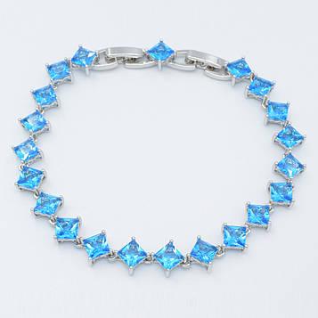XUPING Браслет Родій з блакитними квадратними цирконами Ширина 7мм Довжина 18,5+1,5 см (дод ланка)