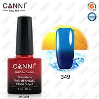 Термо гель-лак Canni №349 (темный синий - голубой)  7,3 мл