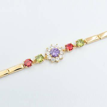 XUPING Браслет Позолота 18к цветочек из разноцветных цирконов Ширина 14мм, Длина 18+1см (дополнительное звено)