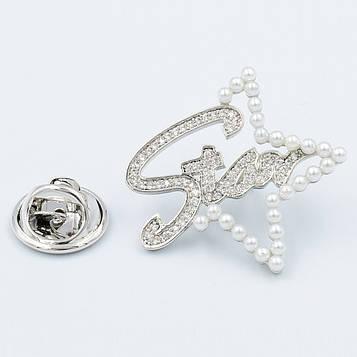 XUPING Брошка Родій з перлами і білими цирконами, Висота 2.4 см, Ширина 2.6 см