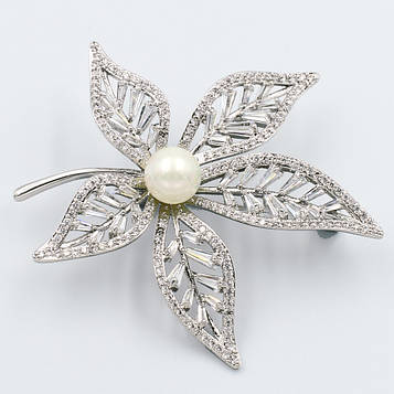 XUPING Брошка Родій листочок з білих цирконів з перлиною Ширина 4,5 см, Довжина 5,5 см