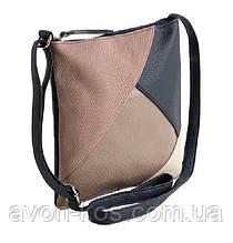 Женская сумка с длинной ручкой  AVON - в стиле Колор-блок с пыльно- розовой вставкой