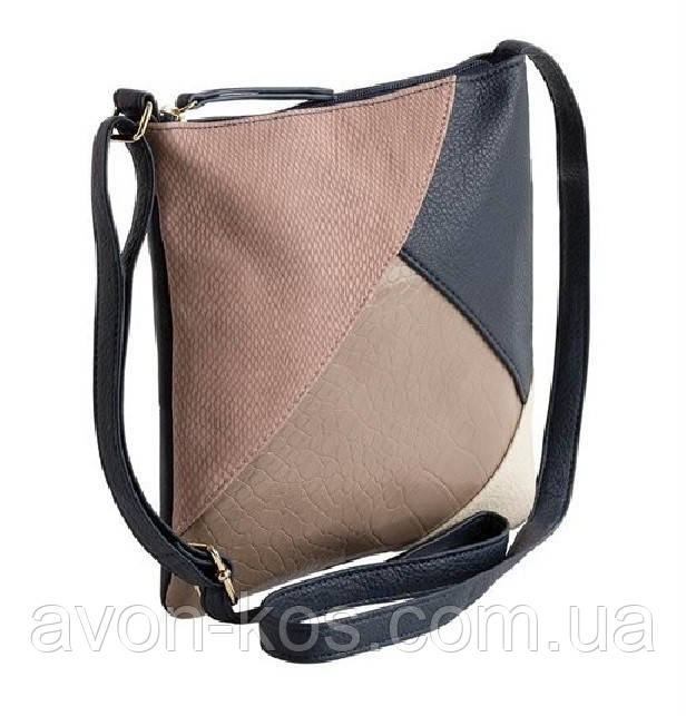 Жіноча сумка з довгою ручкою AVON - в стилі Колор- блок з пильно- рожевою вставкою