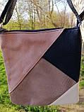 Жіноча сумка з довгою ручкою AVON - в стилі Колор- блок з пильно- рожевою вставкою, фото 2