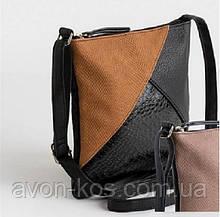 Женская сумка AVON с длинной ручкой  - в стиле Колор-блок с коричневой вставкой