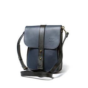 Чоловіча шкіряна сумка Mini Bag синьо-чорна