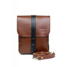 Чоловіча шкіряна сумка Mini Bag коричнево-чорна