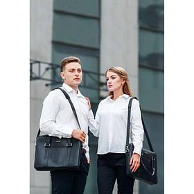 Кожаная сумка для ноутбука и документов черная