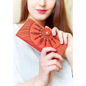 Кожаное женское коралловое портмоне 7.0 Инди