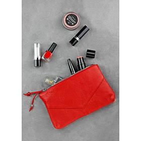 Шкіряна жіноча косметичка червона