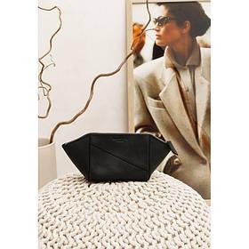 Жіноча шкіряна сумочка чорна Crazy Horse