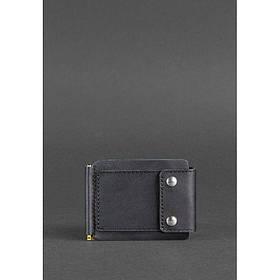 Мужское кожаное портмоне черное 10.0 зажим для денег