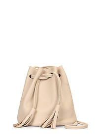Бежевая кожаная сумочка Bucket на завязках