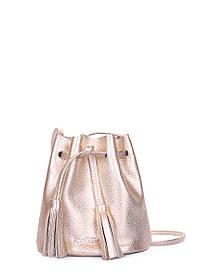 Золотая кожаная сумочка на завязках Bucket