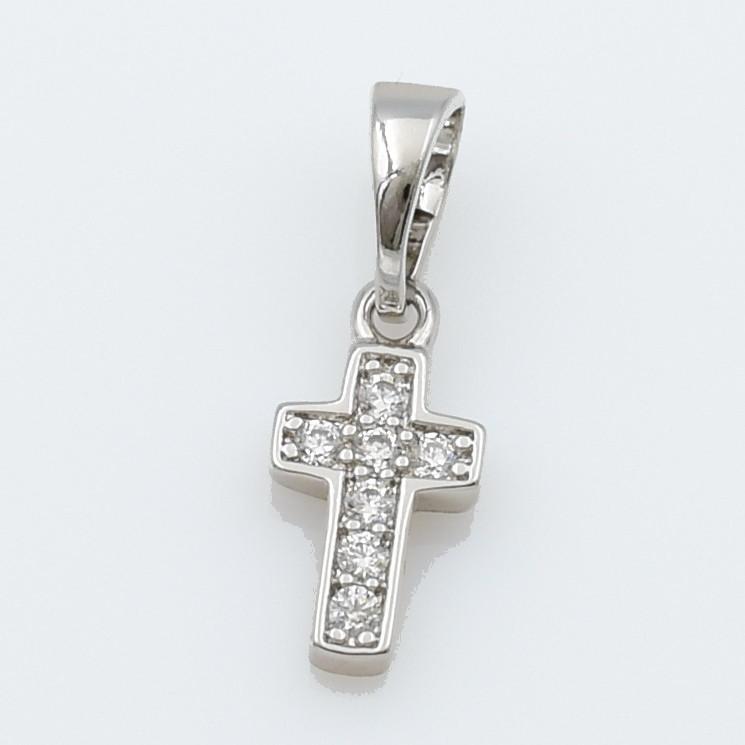 XUPING Кулон Крест Родий с белыми цирконами Высота 1.8см, Ширина 0.6см