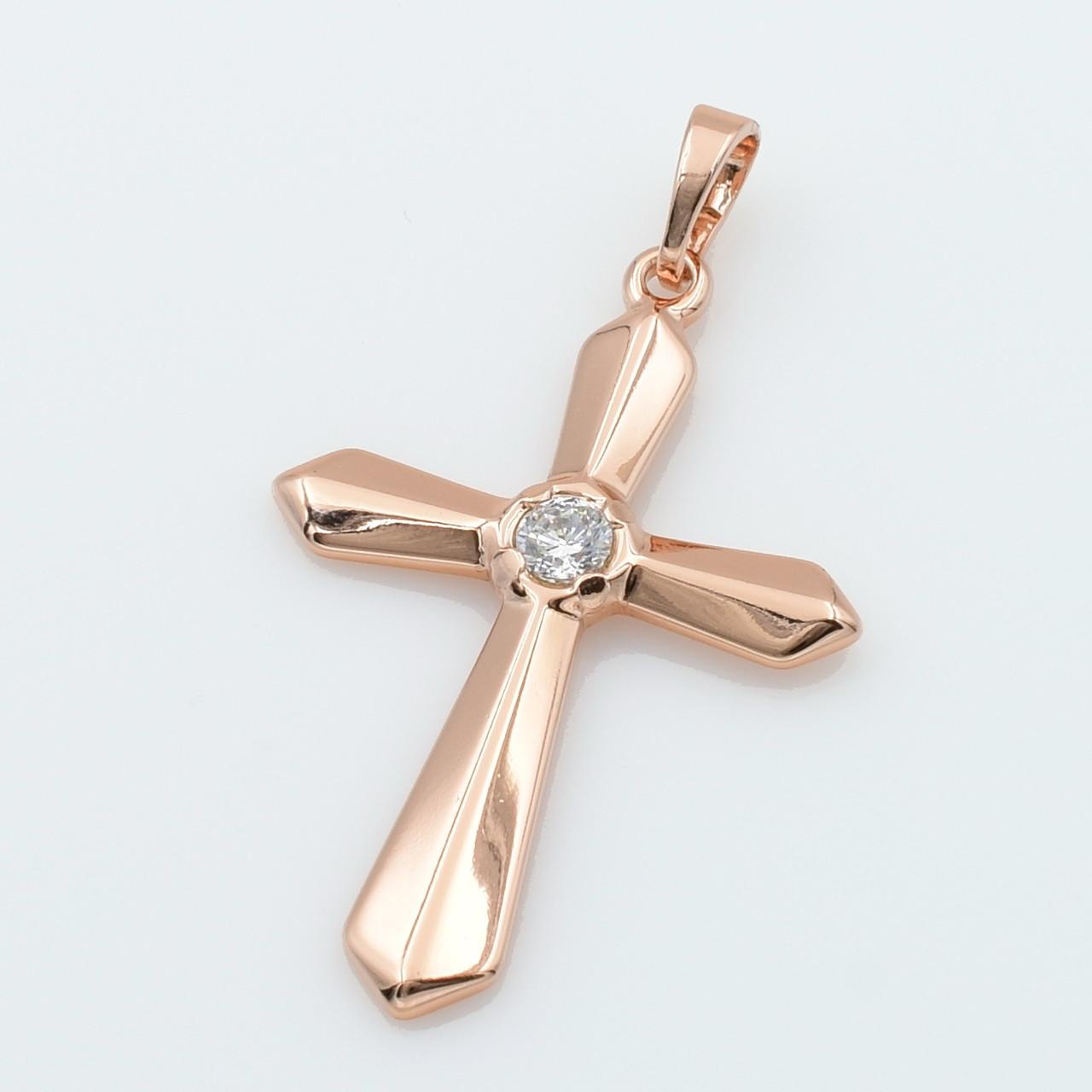 XUPING Кулон Крест Позолота РО с белым цирконом Высота 3.9см, Ширина 2.3см