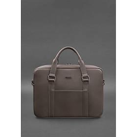 Кожаная сумка для ноутбука и документов темно-бежевая