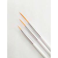 Набор кистей для росписи ногтей, 3шт