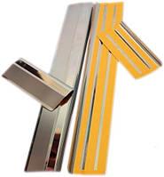 Skoda Fabia 2000-2007 гг. Накладки на пороги Натанико (нерж) Premium - лента 3М, 0.8мм