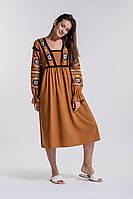 Платье-вышиванка с геометрией гладью и бахромой рыжее Arjen размер S-M (17089-R-S-M)