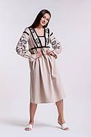 Платье-вышиванка с геометрией гладью и бахромой светло-бежевое Arjen размер S-M (17089-LB-S-M)