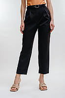 Женские брюки-бананы черные с декоративными отворотами спереди Arjen размер S (26529-BK-S)
