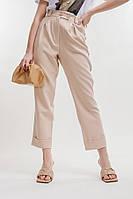 Женские брюки-бананы светло-бежевые с декоративными отворотами спереди Arjen размер S (26529-LB-S)