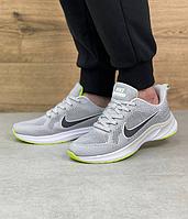 Мужские кроссовки Nike Air Zoom Grey / Найк Зум серые повседневные весенне летние сетка легкие