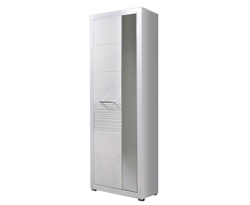 Шкаф двухдверный с зеркалом REG1L1D/20/7 Flames BRW белый/белый глянец