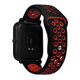 Ремешок BeWatch sport-style 20 мм для смарт-часов Xiaomi amazfit BIP Черно-красный (1010113), фото 2