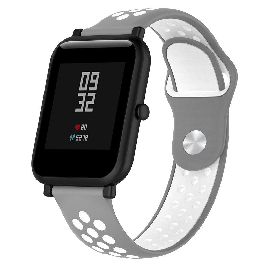 Ремінець BeWatch sport-style для Xiaomi Amazfit BIP Сіро-білий (1010142)