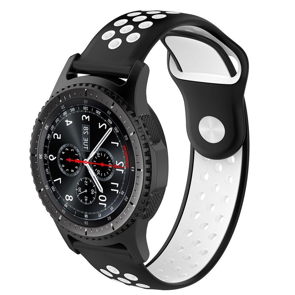 Ремешок силиконовый BeWatch для смарт-часов Samsung Gear S3 Черно-Белый (1020112.2)