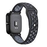 Ремешок силиконовый BeWatch для смарт-часов Xiaomi amazfit BIP Черно-серый (1010114), фото 3