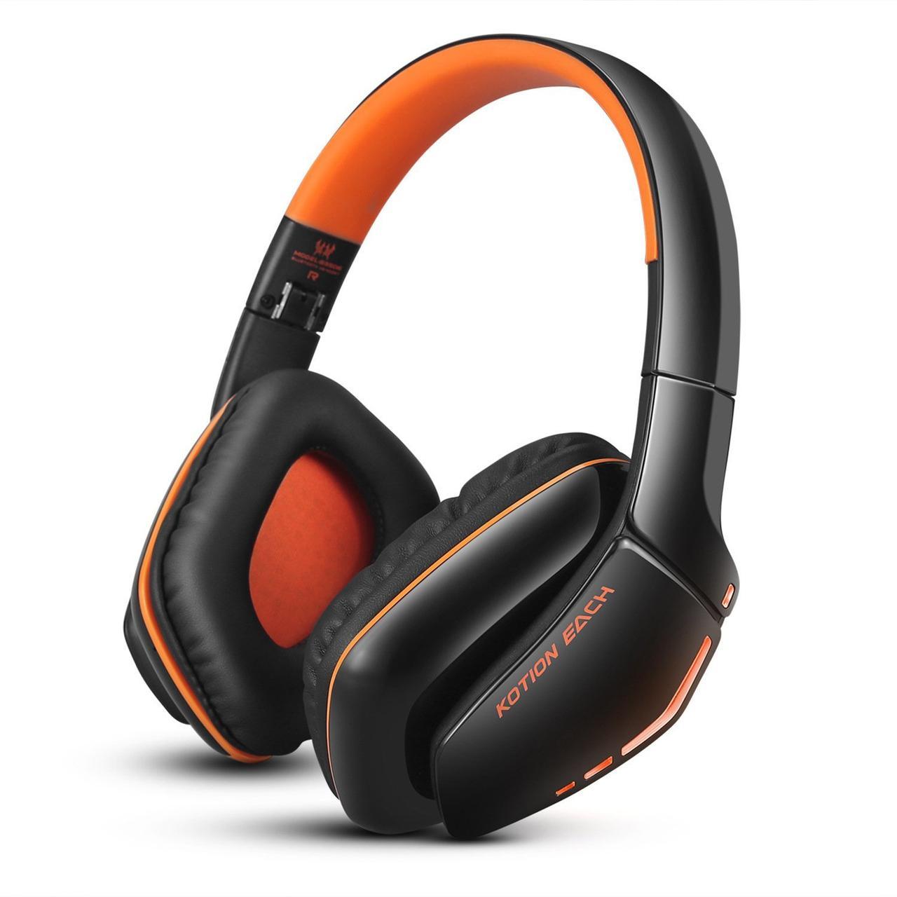 Бездротові Bluetooth-навушники Kotion EACH B3506 зі складною конструкцією Чорно-помаранчевий (hpkotb3506bor)