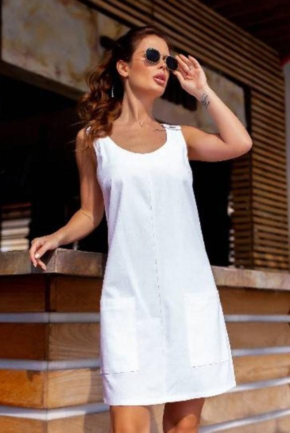 Жіноче плаття, льон, р-р 42; 44; 46 (білий)