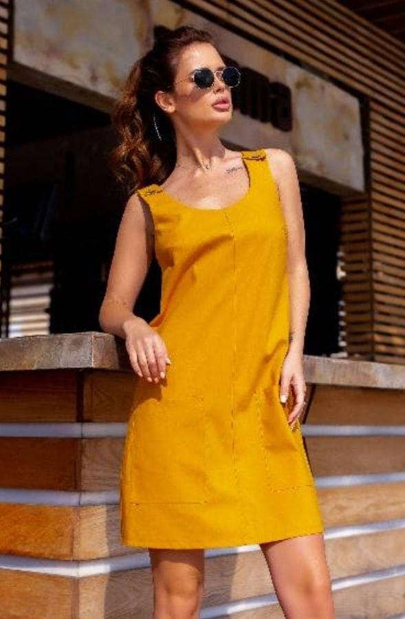 Женское платье, лён, р-р 42; 44; 46 (горчица)