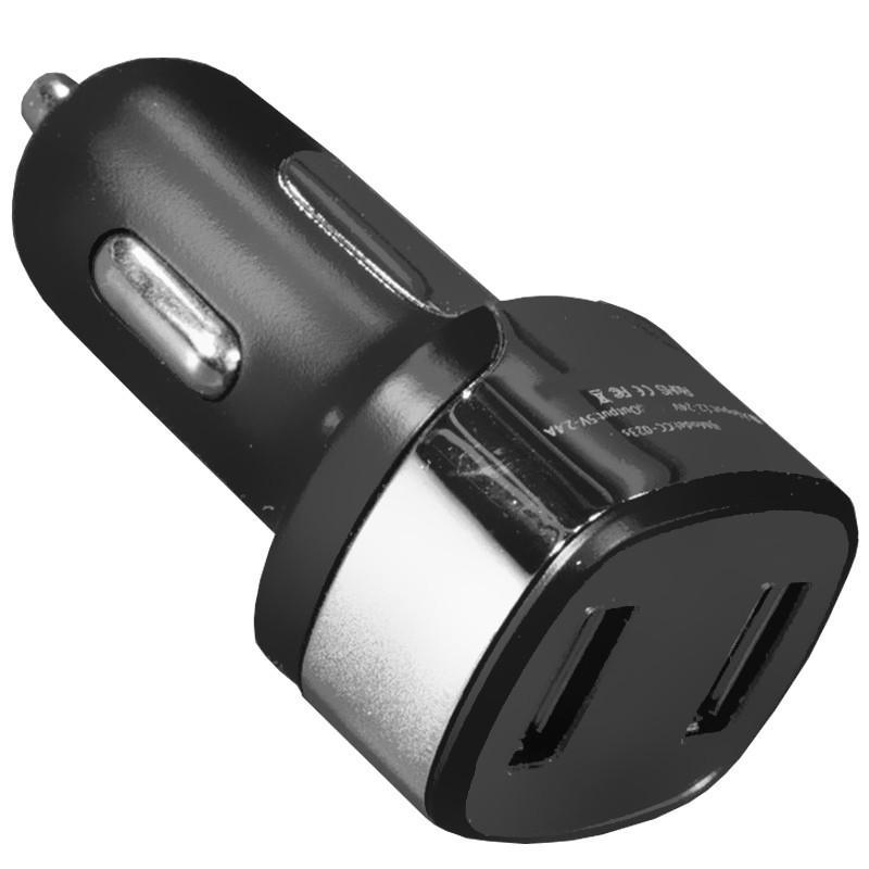 Універсальний автомобільний зарядний пристрій Yopin CC-023s USBx2 порти 2.4 A/1A Чорний (1293-2335)