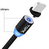 Магнітний кабель для зарядки Topk USB 1m 2.4 A 360° (TK17i-VER2) Llightning Black (3865-10844), фото 2