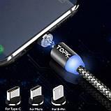 Магнітний кабель для зарядки Topk USB 1m 2.4 A 360° (TK17i-VER2) Llightning Black (3865-10844), фото 3