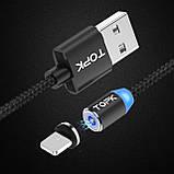 Магнітний кабель для зарядки Topk USB 1m 2.4 A 360° (TK17i-VER2) Llightning Black (3865-10844), фото 6