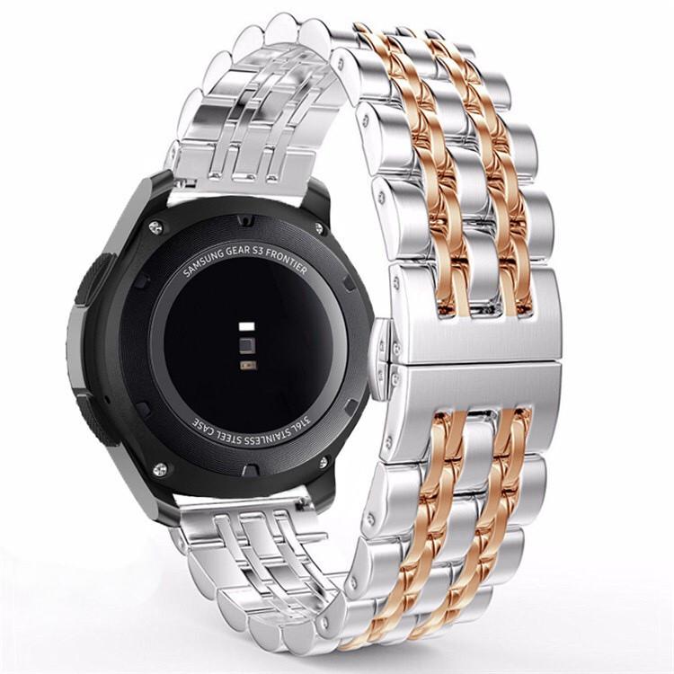 Ремешок BeWatch classic стальной Link для Samsung Galaxy Watch 46 мм | Galaxy Watch 3 45 mm Серебро-Розовое