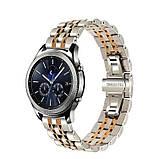Ремінець BeWatch classic сталевий Link для Samsung Galaxy Watch 46 мм   Galaxy Watch 3 45 mm Срібло-Рожеве, фото 2